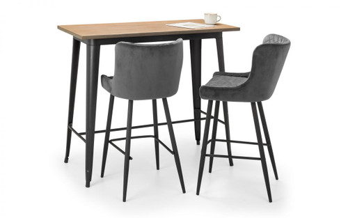 Grafton Bar Table and 2 Luxe Grey Bar Stools