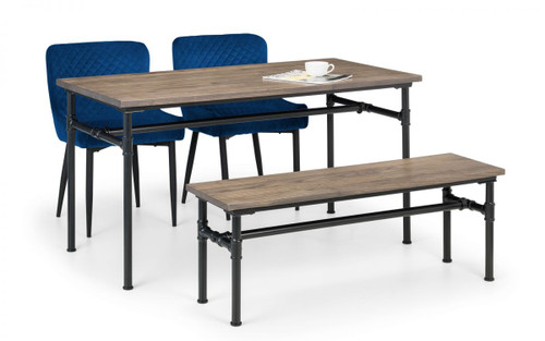 Carnegie Dining Table, Bench and 2 Luxe Blue Chairs