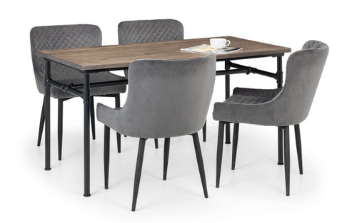 Carnegie Dining Table with 4 Luxe Grey Chairs