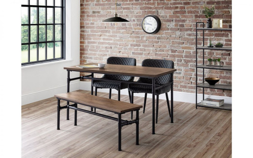 Carnegie Dining Table, Bench and 2 Luxe Grey Chairs