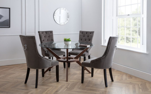 Chelsea Round Dining Table with 4 Veneto Dining Chairs