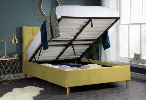 Loxley Mustard Fabric Bed