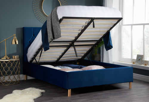 Loxley Blue Fabric Ottoman Bed
