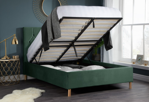 Loxley Green Fabric Ottoman Bed