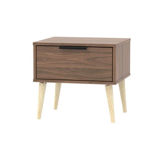 Hong Kong Carini Walnut 1 Drawer Bedside Cabinet with Scandinavian Light Legs