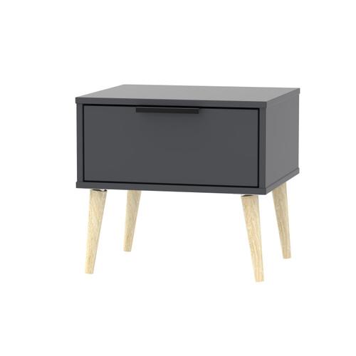 Hong Kong Graphite 1 Drawer Bedside Cabinet with Scandinavian Light Legs