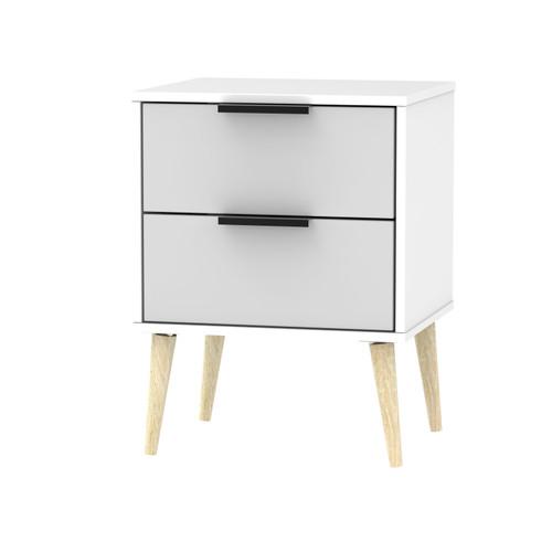 Hong Kong Grey Matt White 2 Drawer Bedside Cabinet with Scandinavian Light Legs