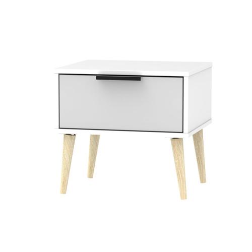 Hong Kong Grey Matt White 1 Drawer Bedside Cabinet with Scandinavian Light Legs