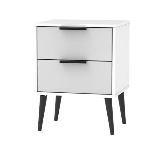 Hong Kong Grey Matt White 2 Drawer Bedside Cabinet with Scandinavian Dark Legs
