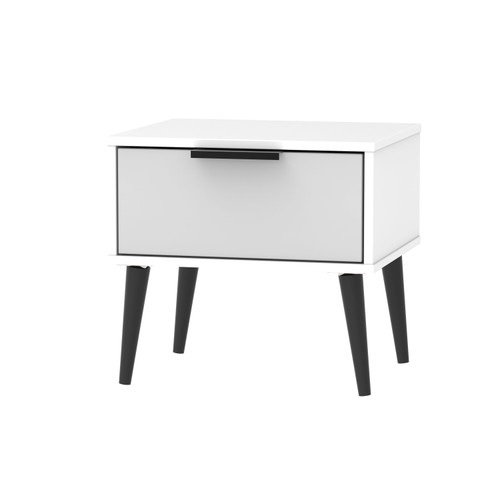 Hong Kong Grey Matt White 1 Drawer Bedside Cabinet with Scandinavian Dark Legs