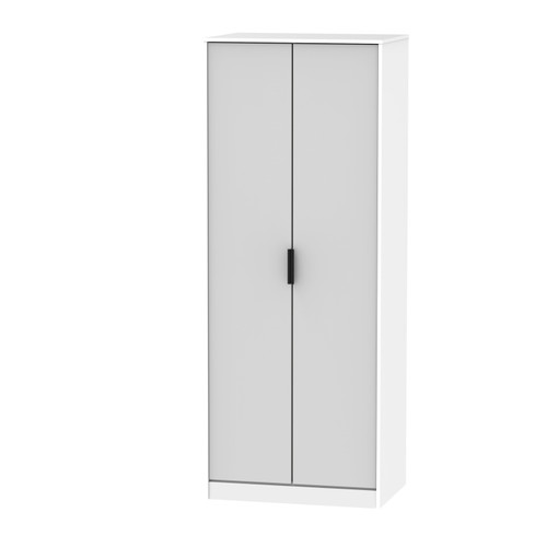 Hong Kong Grey Matt White 2 Door Wardrobe