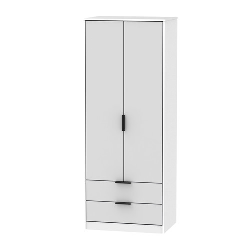Hong Kong Grey Matt White 2 Door 2 Drawer Wardrobe