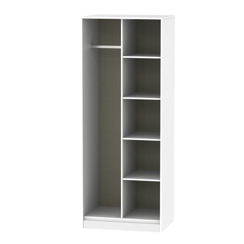 Hong Kong Grey Matt White Open Shelf Wardrobe