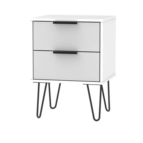 Hong Kong Grey Matt White 2 Drawer Bedside Cabinet with Hairpin Legs