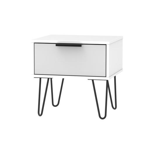 Hong Kong Grey Matt White 1 Drawer Bedside Cabinet with Hairpin Legs