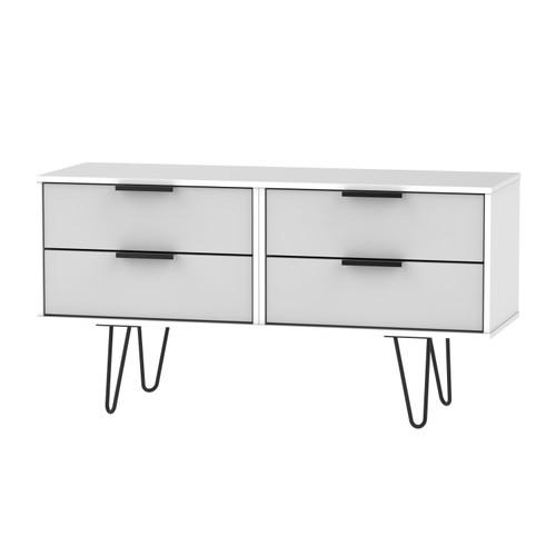 Hong Kong Grey Matt White 4 Drawer Bed Box with Hairpin Legs