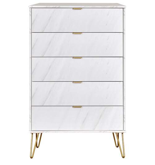Hong Kong Marble 5 Drawer Chest with Gold Hairpin Legs