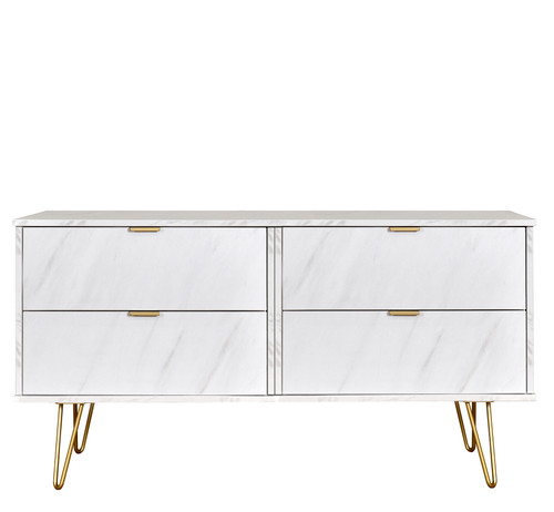 Hong Kong Marble 4 Drawer Bed Box with Gold Hairpin Legs