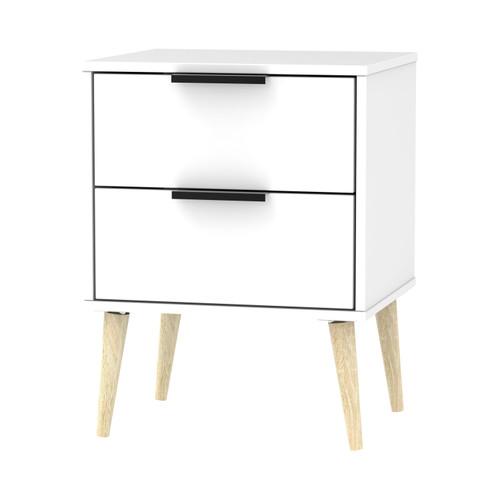 Hong Kong Matt White 2 Drawer Bedside Cabinet with Scandinavian Light Legs