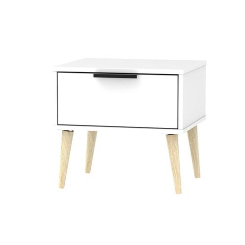 Hong Kong Matt White 1 Drawer Bedside Cabinet with Scandinavian Light Legs