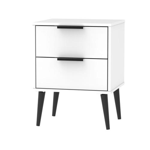 Hong Kong Matt White 2 Drawer Bedside Cabinet with Scandinavian Dark Legs