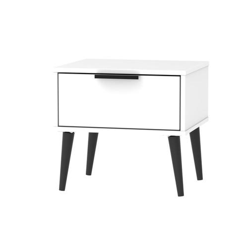 Hong Kong Matt White 1 Drawer Bedside Cabinet with Scandinavian Dark Legs