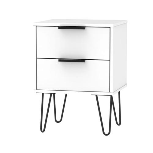 Hong Kong Matt White 2 Drawer Bedside Cabinet with Hairpin Legs