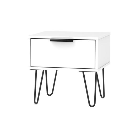 Hong Kong Matt White 1 Drawer Bedside Cabinet with Hairpin Legs