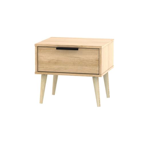 Hong Kong Nebraska Oak 1 Drawer Bedside Cabinet with Scandinavian Light Legs