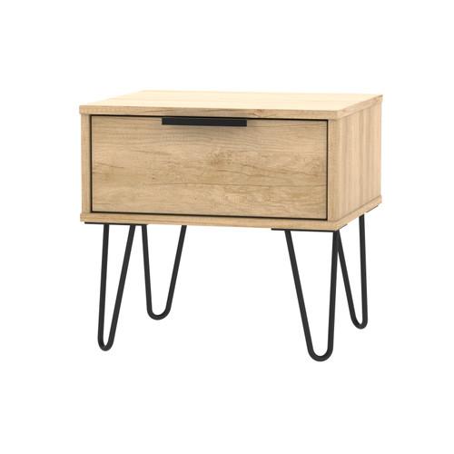 Hong Kong Nebraska Oak 1 Drawer Bedside Cabinet with Hairpin Legs