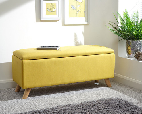 Secreto Yellow Fabric Ottoman Bench