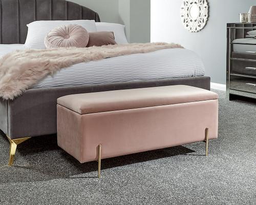 Mystica Blush Pink Ottoman Storage Bench