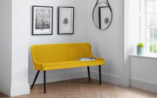 Luxe Mustard High Back Bench