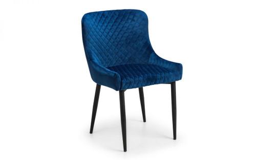 Luxe Pair of Blue Velvet Dining Chair