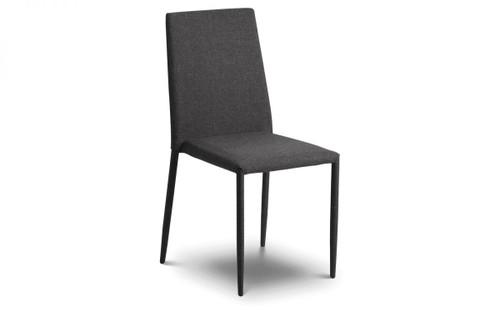 Jazz Pair of Slate Grey Fabric Dining Chairs