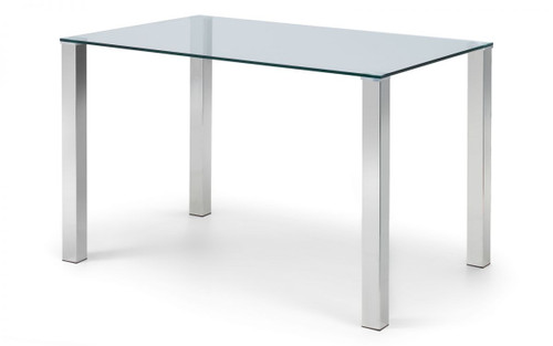 Enzo Chrome and Glass Dining Table