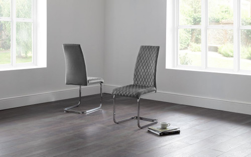 Calabria Pair of Grey Velvet Cantilever Dining Chairs