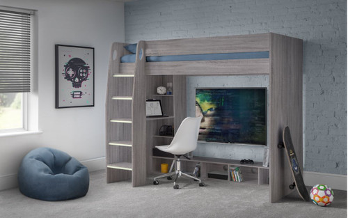 Nebula Grey Oak Gaming Bed with Desk