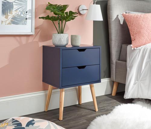 Nyborg Nightshadow Blue 2 Drawer Bedside