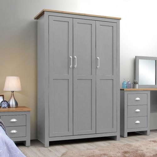 Lisbon Grey 3 Door Wardrobe