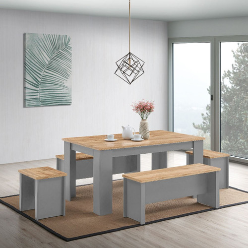 Lisbon Grey Dining Table 150cm with 2 Benches & 2 Stools