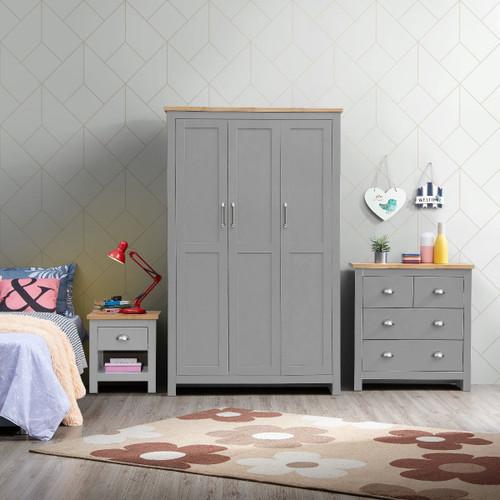 Lisbon Grey 3 Piece Bedroom Set (Trio 7)