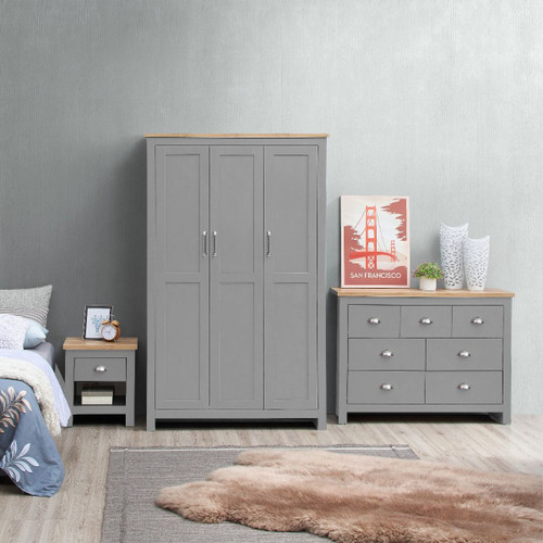 Lisbon Grey 3 Piece Bedroom Set (Trio 8)