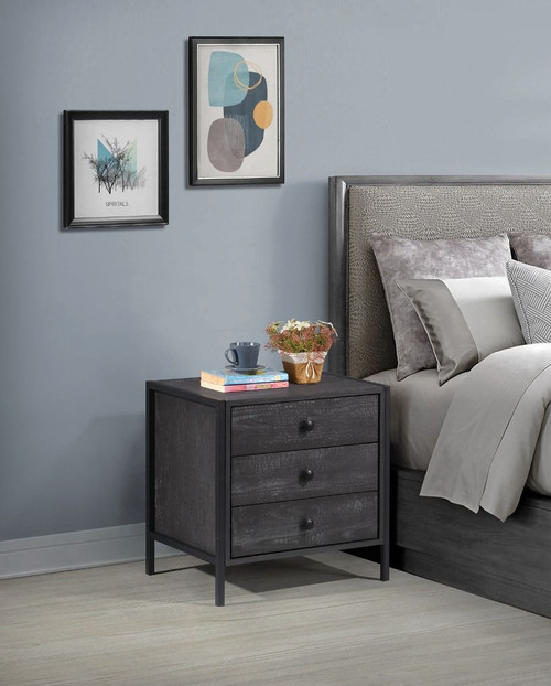 Zahra Nightstand with 3 Drawers in Black