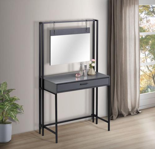 Zahra Dark Grey Dressing Table with Mirror