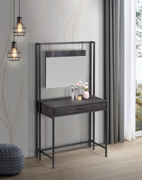Zahra Black Dressing Table with Mirror