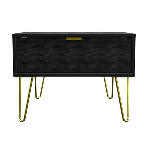 Hong Kong Black 1 Drawer Midi Chest with Gold Hairpin Legs