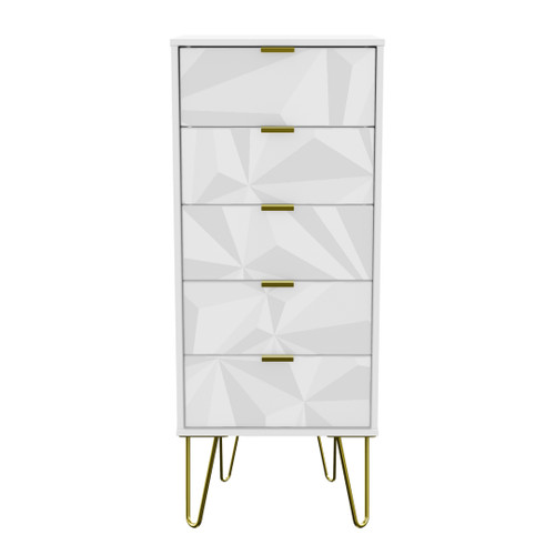 Hong Kong Triangle White 5 Drawer Bedside Cabinet with Gold Hairpin Legs