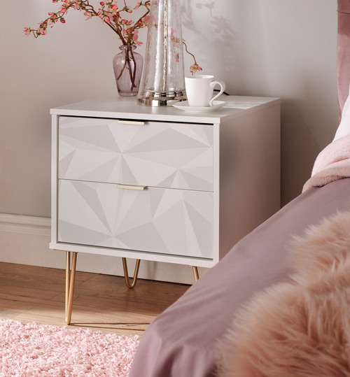 Hong Kong Triangle White 2 Drawer Bedside Cabinet with Gold Hairpin Legs