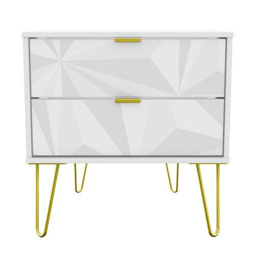 Hong Kong Triangle White 2 Drawer Midi Chest with Gold Hairpin Legs